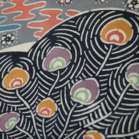 【なごや帯】雀茶色地 梅に扇面・孔雀の羽根文様 塩瀬 なごや帯