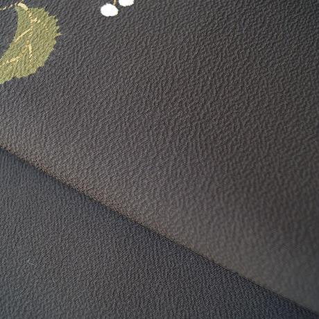 お取り置き中・【なごや帯】黒紅地 葉と実の柄 なごや帯