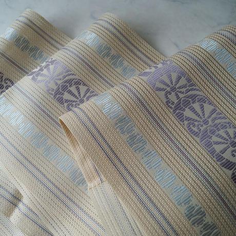 【夏・なごや帯】生成色地 片輪車と雪輪文 博多織 八寸なごや帯