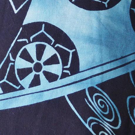 【浴衣】藍地に濃水色 冊子文 浴衣