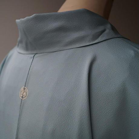 【単衣】水色系 裾暈し 地紋 附下柄色無地