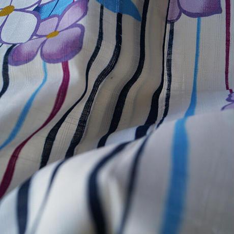 【浴衣】白地 変わり縞に花文 プレタ浴衣 6k69