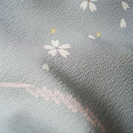 【袷】蝶のシルエットと桜花の小紋 5k28