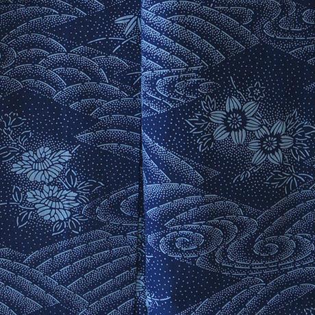 【浴衣】青紺地花々と流水文浴衣 5k35