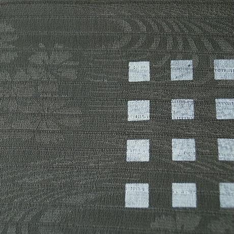 【帯揚げ】濃革色×薄緑色 流水に秋草地紋 格子飛び柄 絽 帯揚げ  №210420c
