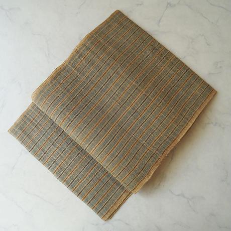 【夏なごや帯】ベージュ地 縞文 麻八寸なごや帯