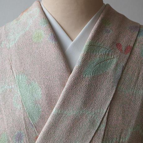 【袷】松井青々作 桃色と薄翡翠色 絞り植物柄 小紋
