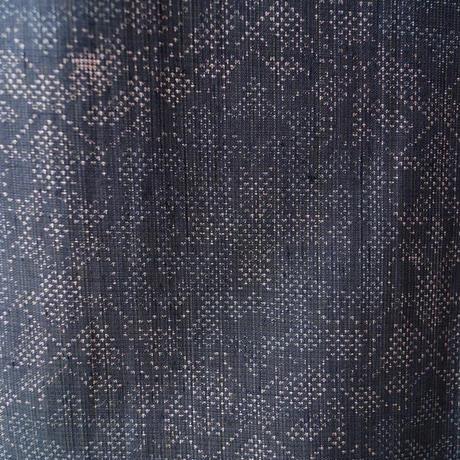 【単衣】藍鉄色系絣華文の紬
