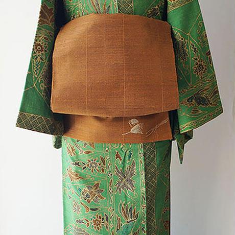 【ふくろ帯】茶系の横段 紬地洒落ふくろ帯