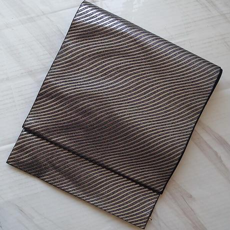 【ふくろ帯】西陣高島織物製 斜めよろけ縞ふくろ帯