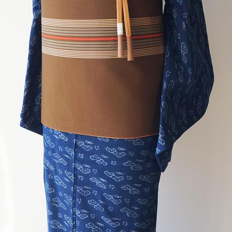 【ふくろ帯】土色地 絞り縞文 両面洒落ふくろ帯