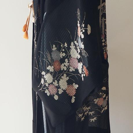 【夏羽織】黒地 古典文様 紗羽織