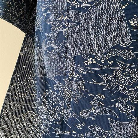 【浴衣】青藍色・草子文綿絽浴衣
