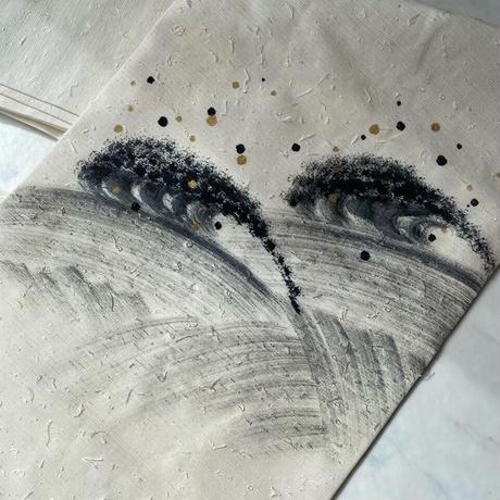 お取り置き中・【なごや帯】モノトーンひげ紬 抽象文 なごや帯
