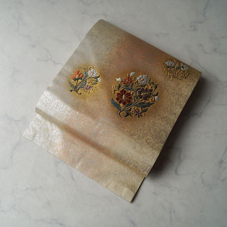 【なごや帯】生成り地に箔 抽象花文 なごや帯