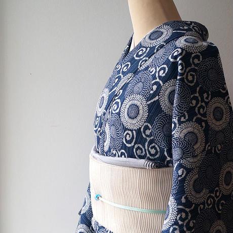 【浴衣】藍色地 花唐草文 浴衣