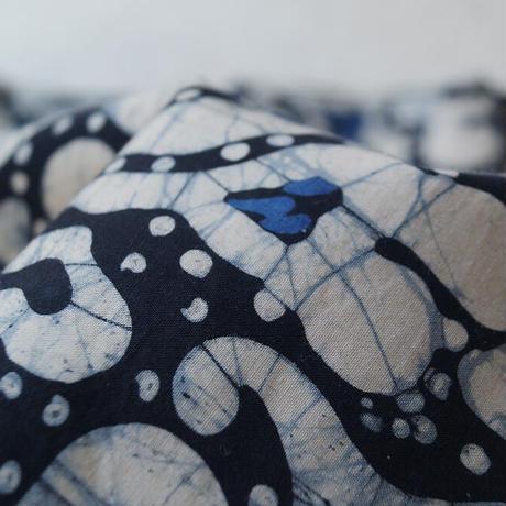 【なごや帯】青地系 抽象更紗バティック なごや帯