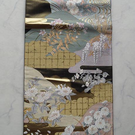 【ふくろ帯】じゅらく帝王紫 四季彩花文 ふくろ帯