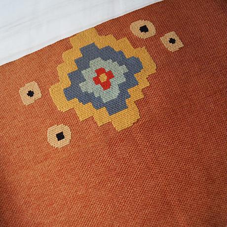 【なごや帯】土器色 かわらけいろ地 キリム調文様 織り八寸なごや帯 3o31