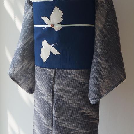 【夏・紅梅】  藍墨茶色霞柄 絹紅梅  未使用品/パールトーン加工済み