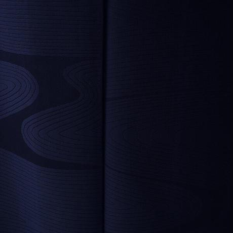 【袷】濃紺地 流水地紋 色無地