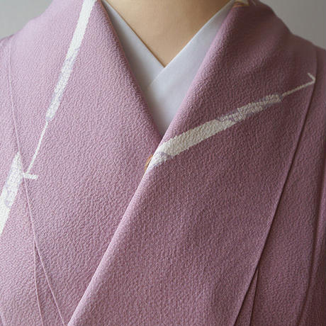 ☆【袷】長春色 櫂と兎文 小紋 5k43