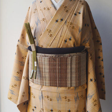 【なごや帯】茶系横段文 仕立ておろし なごや帯