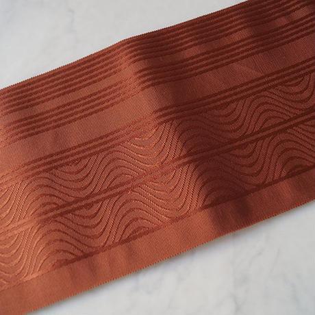 【半幅帯】赤茶色 変わり縞地紋 無地系 半幅帯