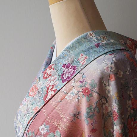 ☆【袷】四季花の風景 小紋 5k42