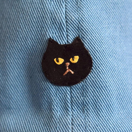 子供用キャップ 黒猫×水色