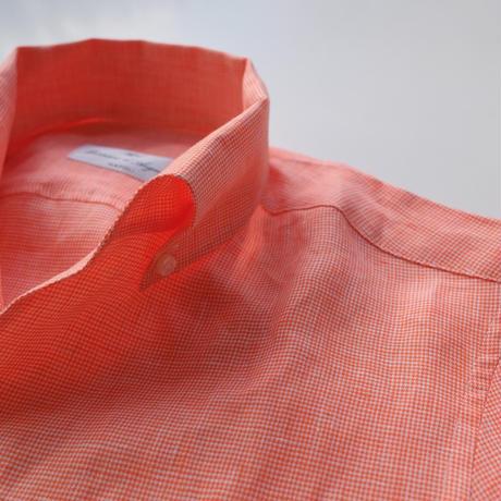 Massimo d'Augusto   one piece collar orange  hound-tooth linen100%
