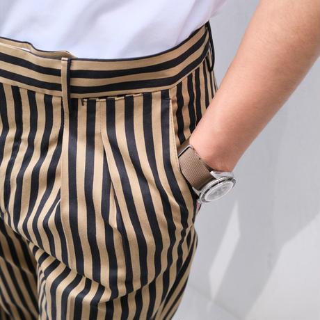PT TORINO carrot-fit  beige×navy stripe