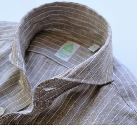 finamore  beige×white stripe linen100%