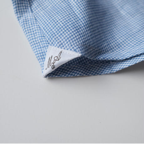 Massimo d'Augusto   one piece collar blue  hound-tooth linen100%