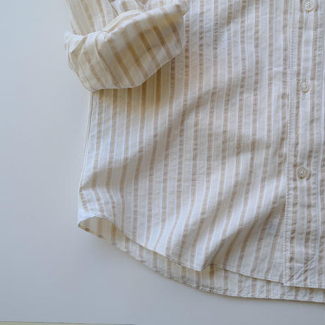 finamore  finamore  seersucker beige stripe