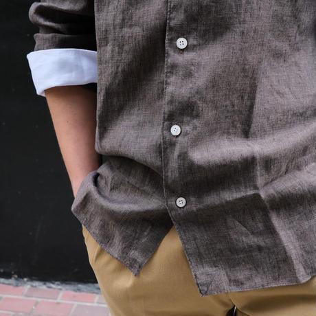 finamore  Oyster別注クレリックシャツ linen brown