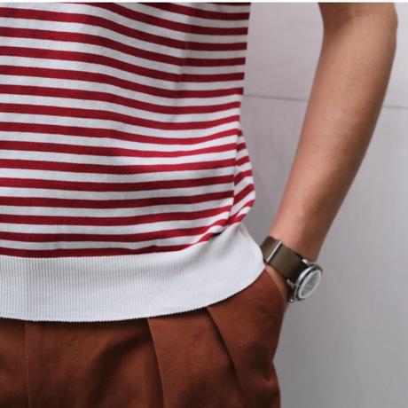 FILIPPO DE LAURENTIIS  border knit polo deep-red