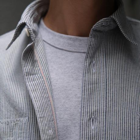 GUYROVER×FORTELA  work shirts oxford hickory stripe