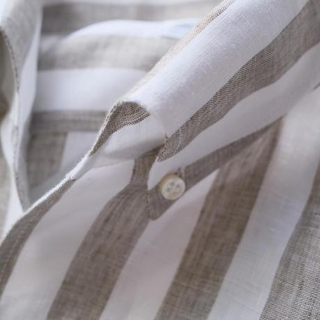 Massimo d'Augusto   one piece collar brown stripe linen100%