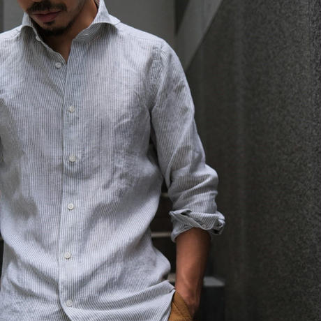finamore  white×light khaki stripe
