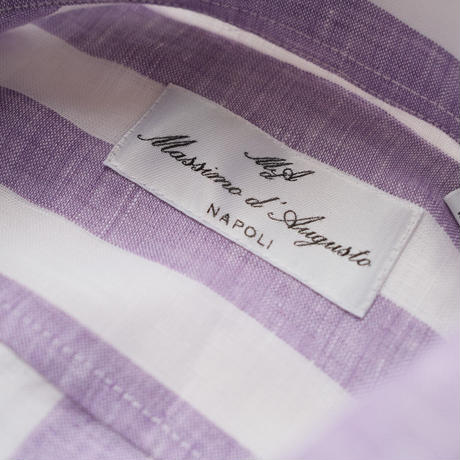 Massimo d'Augusto   one piece collar purple stripe linen100%
