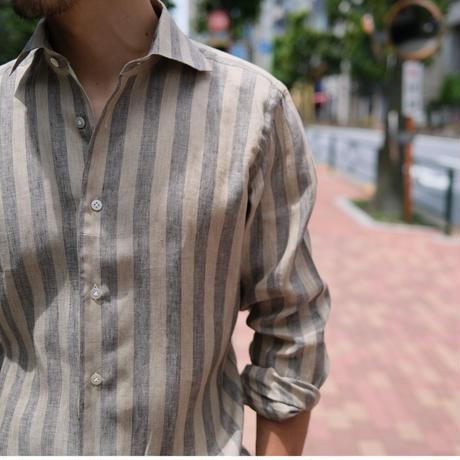 BORRIELLO  linen stripe shirt brown