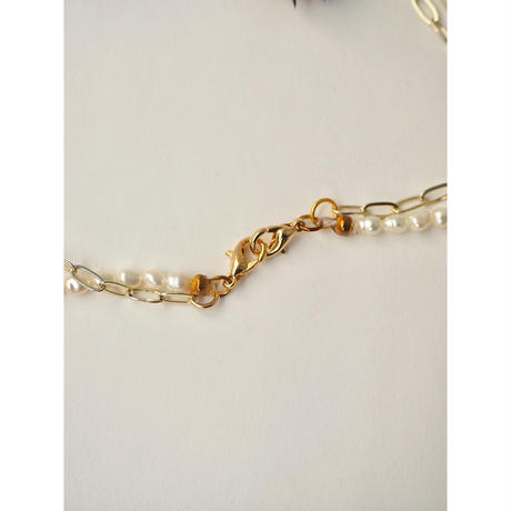 BAROQUE PEARL  MASK CHAIN NECKLACE GOLD