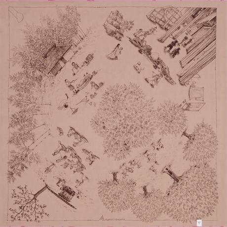 MISATO ASAYAMA 両面ふろしき【二四巾】日本のおとぎ話<桜ちらし>
