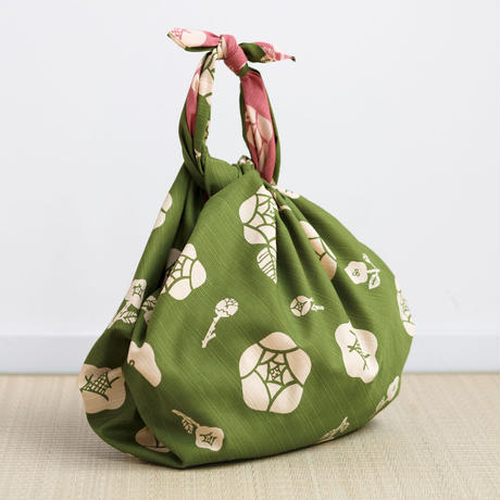 京の両面おもてなし ふろしき【三巾】薔薇<草色-くさいろ>