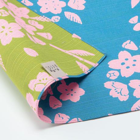 京の両面おもてなし ふろしき【中巾】桜<白群ーびゃくぐん>