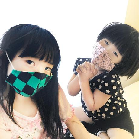 人気アニメ風商品 マスク【普通】市松柄<緑>
