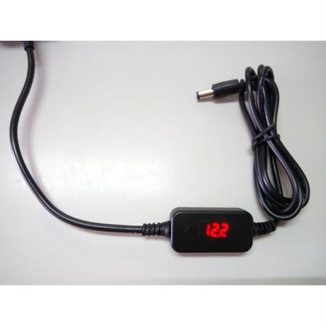 電圧表示機能付き USB電源ケーブル Type-C PDトリガーケーブル DC プラグ 外径5.5mm/内径2.5mm (12V)