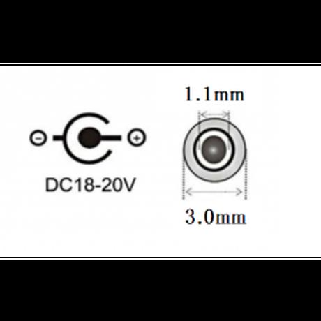 [PDE-3011] 100W 対応 eMarker内蔵 USB PD トリガーケーブル DC18V-20V 電源プラグ 充電用ショートケーブル ノートパソコン用 (3.0mm×1.1mm)