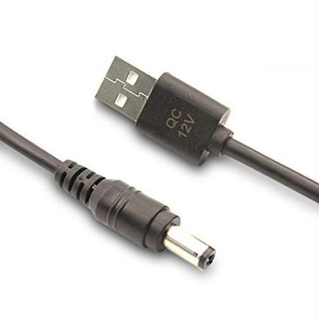 [UQC-12V] USB電源ケーブル 急速充電専用 Type-A QCトリガーケーブル (QC2.0/3.0対応) DC プラグ 外径5.5mm/内径2.1mm(2.5mm) (12V)